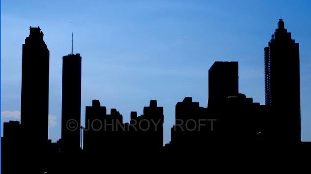 Atlanta USA skyline and landmarks silhouette ...
